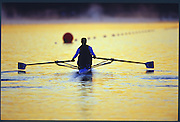 Sydney. AUSTRALIA. 2000 Summer Olympic Regatta, Penrith. NSW.  <br /> <br /> GBR W1X, Alison MOWBRAY sets out at Sunrise, Sydney International Regatta Centre (SIRC), as crews boat to start there training sessions.<br /> <br /> [Mandatory Credit Peter SPURRIER/ Intersport Images] Sydney International Regatta Centre (SIRC) 2000 Olympic Rowing Regatta00085138.tif