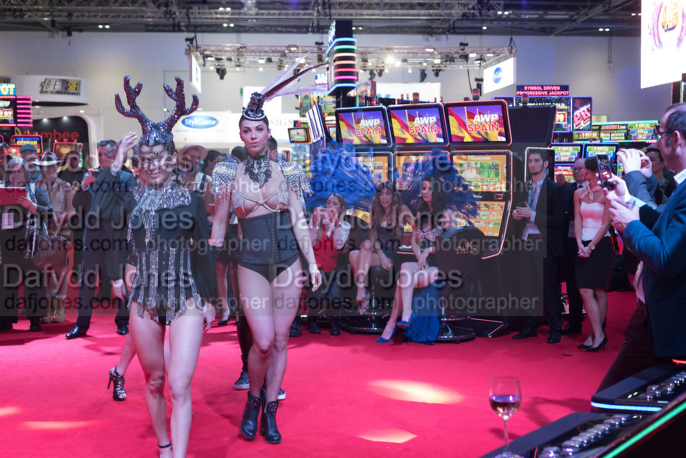 ROMANIAN DANCERS, ICE Totally Gaming 2018. Excel Centre. London. 8 February 2018