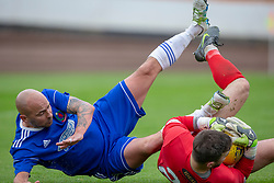 Cove Rangers Paul McManus and Berwick Rangers keeper Ryan Goodfellow. Cove Rangers have become the SPFL's newest side and ended Berwick Rangers' 68-year stay in Scotland's senior leagues by earning a League Two place. Berwick Rangers 0 v 3 Cove Rangers, League Two Play-Off Second Leg played 18/5/2019 at Berwick Rangers Stadium Shielfield Park.
