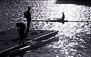 2005 FISA Team Cup, Rio Guadalquiver Rowing Course, Seville, SPAIN, 19.02.2005. Training Day;.Photo  Peter Spurrier. .email images@intersport-images... Sunrise, Sunsets, Silhouettes