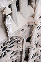 Spain, Barcelona. The Sagrada Família designed by Antoni Gaudí. Exterior details.