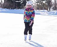 Photo Randy Vanderveen<br /> Grande Prairie, Alberta, Canada<br /> 2017-03-20<br /> Nadia Hurta, 6, enjoys a morning skate on the Muskoseepi Park pond on a sunny first day of spring. The outdoor skating season is rapidly drawing to a close for skaters like Hurta as warmer weather in the forecast for this first week of spring will likely mean ice conditions will deteriorate.