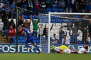 Sean Morrison of Cardiff city (4 ) celebrates after he scores his teams 1st goal. EFL Skybet championship match, Cardiff city v Sheffield Utd at the Cardiff City Stadium in Cardiff, South Wales on Tuesday 15th August 2017.<br /> pic by Andrew Orchard, Andrew Orchard sports photography.