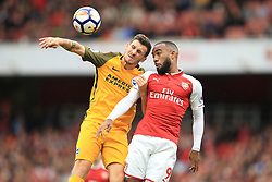1 October 2017 -  Premier League - Arsenal v Brighton & Hove Albion - Alexandre Lacazette of Arsenal in action with Pascal Gross of Brighton and Hove Albion - Photo: Marc Atkins/Offside