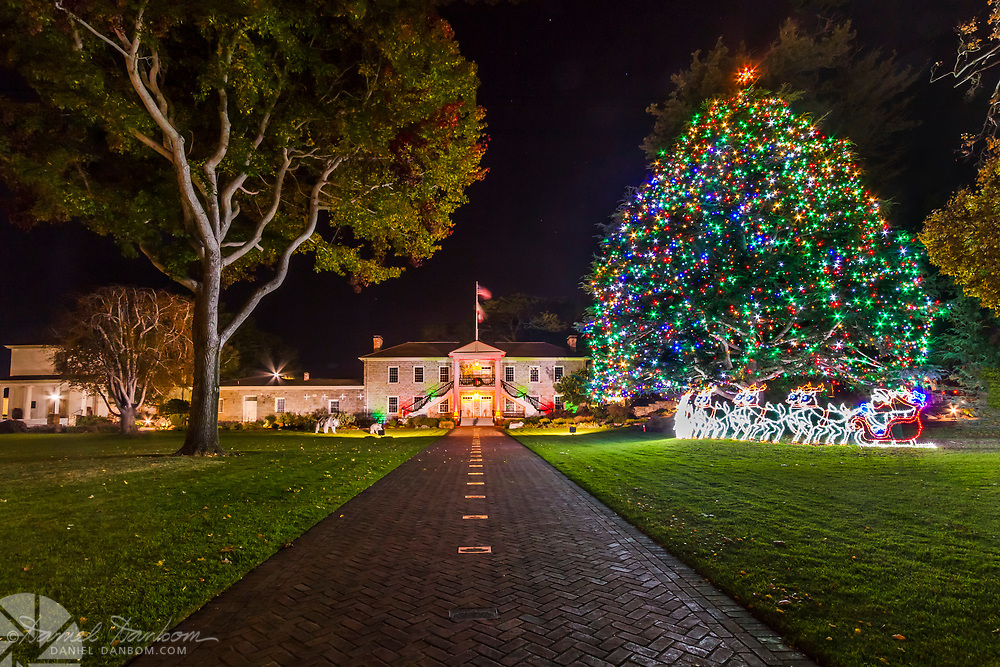 Colton Hall the first capital of California, City Hall, Monterey, with Christmas tree and lights display