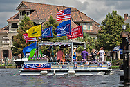 Participants in a boat parade on Sept. 26, 2020  in support of President Donald Trump in Madisonville, Louisana on the Tchefuncte River.