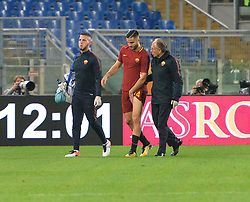 October 14, 2017 - Rome, Italy - Kostas Manolas leaves the field for injury during the Italian Serie A football match between A.S. Roma and S.S.C. Napoli at the Olympic Stadium in Rome, on october 14, 2017. (Credit Image: © Silvia Lore/NurPhoto via ZUMA Press)