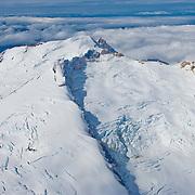 Four Peaked Mountain and Four Peaked Glacier in Katmai National Park, Alaska.