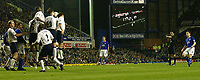 Fotball<br /> Photo. Aidan Ellis, Digitalsport<br /> NORWAY ONLY<br /> <br /> Everton v Tottenham Hotspur.<br /> FA Barclaycard Premiership.<br /> 09/04/2004.<br /> Gary Naysmith scores Everton's second with this free Kick