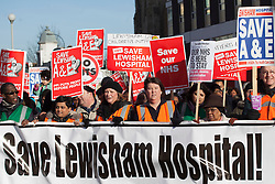 © licensed to London News Pictures. London, UK 26/01/2013. Protesters demonstrating in Lewisham against Government proposals to close emergency and maternity services at Lewisham Hospital. Photo credit: Tolga Akmen/LNP