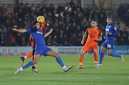 AFC Wimbledon defender Will Nightingale (5) winning tackle during the EFL Sky Bet League 1 match between AFC Wimbledon and Southend United at the Cherry Red Records Stadium, Kingston, England on 24 November 2018.