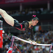 Kexin He, China, in action winning the Silver Medal in the Gymnastics Artistic, Women's Apparatus, Uneven Bars Final at the London 2012 Olympic games. London, UK. 6th August 2012. Photo Tim Clayton