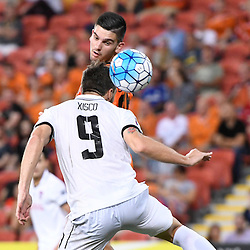 BRISBANE, AUSTRALIA - FEBRUARY 21: Xisco Jimenez of Muangthong United heads the ball during the Asian Champions League Group Stage match between the Brisbane Roar and Muangthong United FC at Suncorp Stadium on February 21, 2017 in Brisbane, Australia. (Photo by Patrick Kearney/Brisbane Roar)