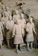 Statues of warriors form a terracotta army at the tomb of Emperor Qin Shi Huang at Xian,China