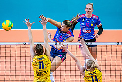 18-05-2019 GER: CEV CL Super Finals Igor Gorgonzola Novara - Imoco Volley Conegliano, Berlin<br /> Igor Gorgonzola Novara take women's title! Novara win 3-1 / Cristina Chirichella #10 of Igor Gorgonzola Novara, Anna Danesi #11 of Imoco Volley Conegliano, Joanna Wolosz #14 of Imoco Volley Conegliano