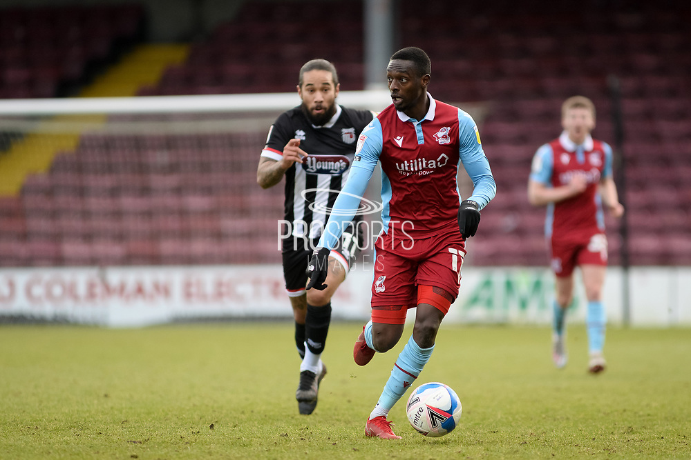 Scunthorpe United Abo Eisa (11) attacking during the EFL Sky Bet League 2 match between Scunthorpe United and Grimsby Town FC at the Sands Venue Stadium, Scunthorpe, England on 23 January 2021.