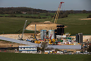 A compound being used for works to construct a ventilation shaft for the Chiltern Tunnel section of the HS2 high-speed rail link is pictured on 30th March 2021 in Chalfont St Giles, United Kingdom. The works alongside Bottom House Farm Lane also include the construction of a temporary haul road and an embankment.