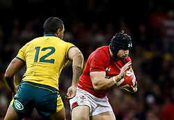 Leigh Halfpenny of Wales under pressure from Kurtley Beale of Australia<br /> <br /> Photographer Simon King/Replay Images<br /> <br /> Under Armour Series - Wales v Australia - Saturday 10th November 2018 - Principality Stadium - Cardiff<br /> <br /> World Copyright © Replay Images . All rights reserved. info@replayimages.co.uk - http://replayimages.co.uk