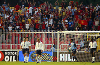 Photograph: Scott Heavey.<br />England v Macadonia at the City Stadium in Skopje, Macadonia. 05/09/2003.<br />The England team are stunned as the Macadonia fans celebrate their opening goal.