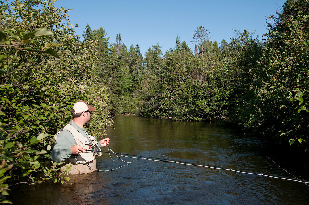 Fly fishing on the heavily wooded Fox River in Michigans Upper Peninsula.