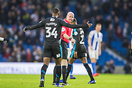Rekeen Harper (West Brom) protesting to Lee Mason (Referee) during the FA Cup fourth round match between Brighton and Hove Albion and West Bromwich Albion at the American Express Community Stadium, Brighton and Hove, England on 26 January 2019.