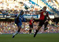 Photo: Tony Oudot.<br /> Chelsea v Blackburn Rovers. The FA Barclays Premiership. 15/09/2007.<br /> Shaun Wright Phillips of Chelsea clears from Stephen Warnock of Blackburn