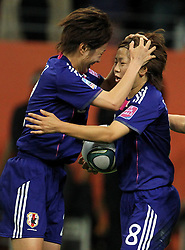 17-07-2011 VOETBAL: FIFA WOMENS WORLDCUP 2011 FINAL JAPAN - USA: FRANKFURT<br /> Torjubel Japan nach dem 1:1 Ausgleich durch Aya Miyama (re.) , hier mit Yukari Kinga (JPN) <br /> ***NETHERLANDS ONLY***<br /> ©2011-FRH- NPH/Hessland