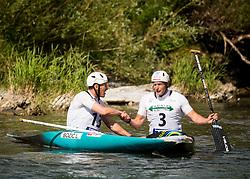 Luka Bozic of Slovenia and Benjamin Savsek fo Slovenia after competing in Final of Canoe Single Men C1 during Day 4 of 2017 ECA Canoe Slalom European Championships, on June 4, 2017 in Tacen, Ljubljana, Slovenia. Photo by Vid Ponikvar / Sportida