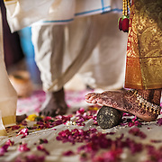A bridegroom places a toe ring on the bride's foot, at a wedding in Thiruvananthapuram, Kerala. The silver toe ring is a sign of marriage in south India. It is not made of gold, which is considered the metal of gods and is traditionally not worn below the waist.