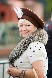 A female re-enactor portrays 1940s Fashion during the Elsecar 1940s Wartime Weekend <br />
