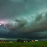 Supercell thunderstorm with hail and lightning in the Texas Panhandle.