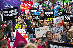 © Licensed to London News Pictures . 01/10/2017. Manchester, UK. Tories Out anti austerity demonstration against the Conservative Government in Manchester during the Conservative Party Conference , which is taking place at the Manchester Central Convention Centre . Photo credit: Joel Goodman/LNP