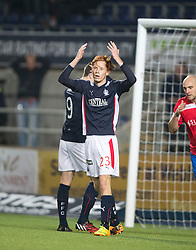 Falkirk's Scott Shepherd after David Smith misses an empty goal. <br /> Falkirk 1 v 0 Cowdenbeath, William Hill Scottish Cup game played 29/11/2014 at The Falkirk Stadium.