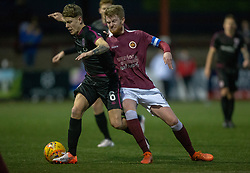 Arbroath's David Gold and Stenhousemuir's Alan Cook. Stenhousemuir 1 v 4 Arbroath, Scottish Football League Division One play12/1/2019 at Ochilview Park.