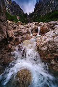 Val Perse, Dolomites, Italy. A flowing streambed in a valley in the Dolomites, Italy.