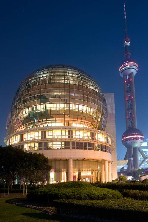 Shanghai, China, November 20, 2008: Shanghai International Cenvention Center and Oriental Pearl Tower in Pudong.