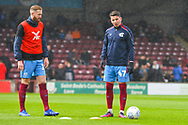 Adam Hammill of Scunthorpe United (47) and Kevin van Veen of Scunthorpe United (10) warming up during the EFL Sky Bet League 1 match between Scunthorpe United and Bradford City at Glanford Park, Scunthorpe, England on 27 April 2019.