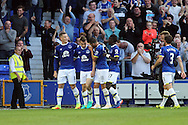 Seamus Coleman of Everton (2l) celebrates with his teammates after scoring his teams 2nd goal. Premier league match, Everton v Middlesbrough at Goodison Park in Liverpool, Merseyside on Saturday 17th September 2016.<br /> pic by Chris Stading, Andrew Orchard sports photography.
