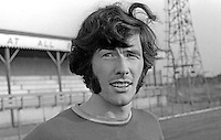 Billy Millen, footballer, Linfield FC, Belfast, N Ireland, August 1970. 1970080295BM1<br /> <br /> Copyright Image from Victor Patterson, Belfast, UK<br /> <br /> t: +44 28 9066 1296 (from Rep of Ireland 048 9066 1296)<br /> m: +44 7802 353836<br /> e: victorpattersonbelfast@gmail.com<br /> <br /> www.images4media.com<br /> <br /> Please see my full Terms and Conditions of Use at https://www.images4media.com/p/terms-conditions - it is IMPORTANT that you familiarise yourself with them.<br /> <br /> Images used online incur an additional cost. This cost should be agreed in writing in advance. Online images must be visibly watermarked i.e. © Victor Patterson or that of the named photographer within the body of the image. The original metadata must not be deleted from images used online.<br /> <br /> This image is only available for the use of the download recipient i.e. television station, newspaper, magazine, book publisher, etc, and must not be passed on to a third party. It is also downloaded on condition that each and every usage is notified within 7 days to victorpattersonbelfast@gmail.com.<br /> <br /> The right of Victor Patterson (or the named photographer) to be identified as the author is asserted in accordance with The Copyright Designs And Patents Act (1988). All moral rights are asserted.