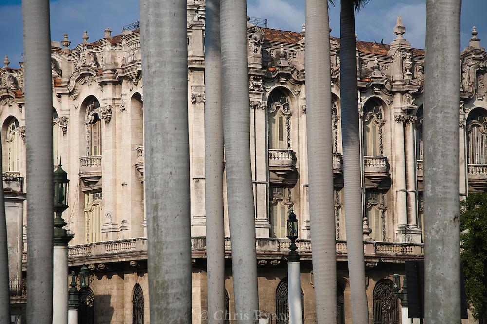 Gran Teatro behind palm trees, Havana, Cuba