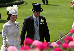 Kate, the Duchess of Cambridge, and Prince William, Duke of Cambridge, during day one of Royal Ascot at Ascot Racecourse.