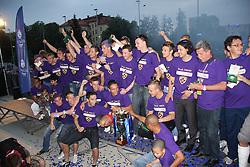 Captain Zoran Pavlovic and other players of Maribor celebrate at cup ceremony after last football match of PrvaLiga Telekom Slovenije between NK Maribor and NK Interblock, when Maribor became a Slovenian National Champion, on May 23, 2009, in Ljudski vrt, Maribor. (Photo by Marjan Kelner/Sportida)