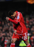 Photo: Tony Oudot/Sportsbeat Images.<br /> Chelsea v Liverpool. Carling Cup, Quarter Final. 19/12/2007.<br /> Nabil El Zhar of Liverpool is dejected after missing a scoring chance