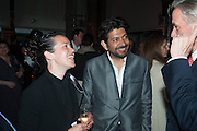 SARAH SZE; SIDDARTHA MUKHERJEE, The Bronx Museum of the Arts, Tanya Bonakdar Gallery and the Victoria Miro Gallery host a reception and dinner in honor of Sarah Sze: Triple Point. Representing the United States of America at the 55th Biennale di Venezia with the Co  Commissioners of the  U. S. Pavilion Holly Block, Executive Director of the Bronx Museum of the arts  and Carey Lovelace. <br /> <br /> Rialto Fish market. Venice. . 29 May 2013