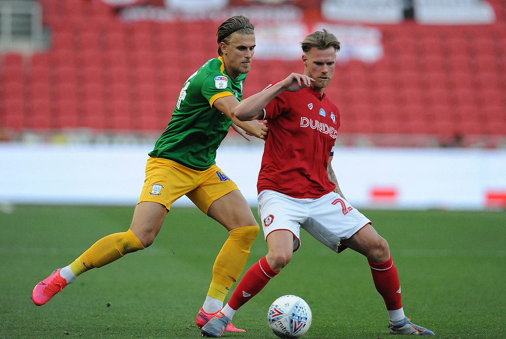 Bristol City's Tomas Kalas shields the ball from Preston North End's Brad Potts<br /> <br /> Photographer Ian Cook/CameraSport<br /> <br /> The EFL Sky Bet Championship - Bristol City v Preston North End - Wednesday July 22nd 2020 - Ashton Gate Stadium - Bristol <br /> <br /> World Copyright © 2020 CameraSport. All rights reserved. 43 Linden Ave. Countesthorpe. Leicester. England. LE8 5PG - Tel: +44 (0) 116 277 4147 - admin@camerasport.com - www.camerasport.com