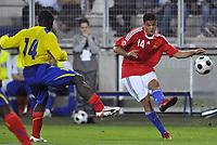 Fotball<br /> Frankrike v Ecuador<br /> Foto: DPPI/Digitalsport<br /> NORWAY ONLY<br /> <br /> FOOTBALL - FRIENDLY GAME 2007/2008 - FRANCE v ECUADOR - 27/05/2008 - HATEM BEN ARFA (FRA) / SEGUNDO CASTILLO (ECU)