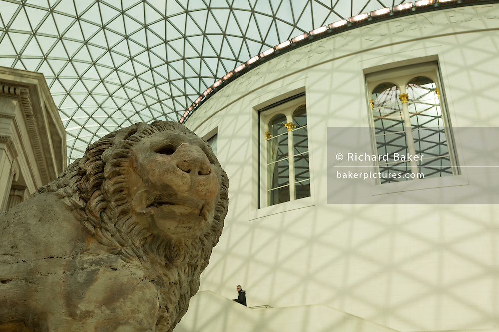 The Lion of Knidos (c. 350-200 BC), a 7ton marble colossal from the Turkish cemetery tomb, now residing in the Great Court of the British Museum, on 28th February 2017, in London, England. The tomb once stood overlooking Knidos harbour and was discovered in 1858.