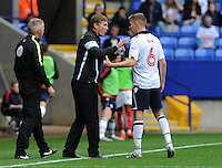 Bolton Wanderers's Manager Phil Parkinson hands advice to Josh Vela during the game<br /> <br /> Photographer Ian Cook/CameraSport<br /> <br /> Football - The EFL Sky Bet League One - Bolton Wanderers v Fleetwood Town - Saturday 20 August 2016 - Macron Stadium - Bolton<br /> <br /> World Copyright © 2016 CameraSport. All rights reserved. 43 Linden Ave. Countesthorpe. Leicester. England. LE8 5PG - Tel: +44 (0) 116 277 4147 - admin@camerasport.com - www.camerasport.com