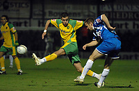 Photo: Ashley Pickering/Sportsbeat Images.<br /> Colchester United v Norwich City. Coca Cola Championship. 15/12/2007.<br /> Danny Granville of Colchester (R) clears under pressure from Ched Evans of Norwich