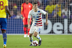 March 21, 2019 - Orlando, FL, U.S. - ORLANDO, FL - MARCH 21: United States midfielder Christian Pulisic (10) dribbles the ball in game action during an International friendly match between the United States and Ecuador on March 21, 2019 at Orlando City Stadium in Orlando, FL. (Photo by Robin Alam/Icon Sportswire) (Credit Image: © Robin Alam/Icon SMI via ZUMA Press)